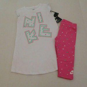 NWT 2pc Nike Logo Dress Tunic Top & Crop Leggings